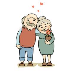 Loving elderly couple / Vector illustration of grandparents happy together, valentines card