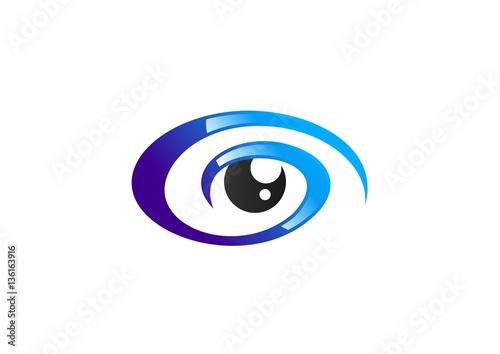 """""""eye spiral logo sign, circle blue eye vision logo icon ..."""