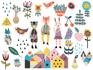 Set of cute scandinavian style elements and animals.