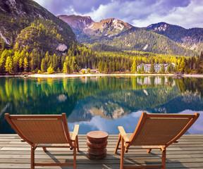 Sun loungers on the lake