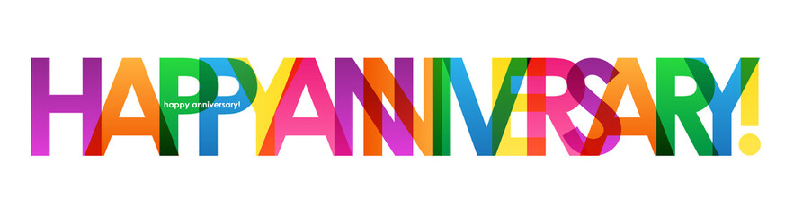 """HAPPY ANNIVERSARY"" Colourful Vector Letters Icon"