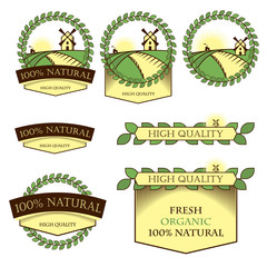 Set of logos, icons, nameplates for food. Natural, fresh quality