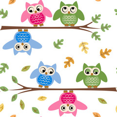 cartoon owl on a branch