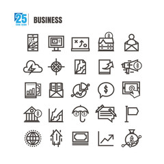 Business  icons set. Line style. idea imagery bank online graph mortgage home send message success Profit vector on white background