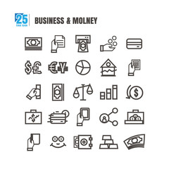 Business and finance icons set. Line style. idea currency success Profit vector on white background