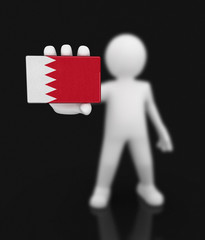 Man and Bahrain flag. Image with clipping path