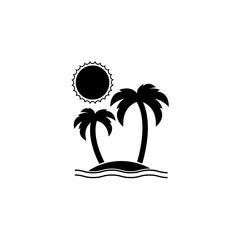 Island solid icon, travel & tourism, sun and palm, a filled pattern on a white background, eps 10.
