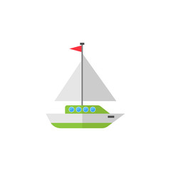 Sailing yacht flat icon, travel & tourism, boat and ship, a colorful solid pattern on a white background, eps 10.
