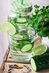Glass jar mug with cleansing cucumber water with lime and mint, ingredients, agua fresca, spring