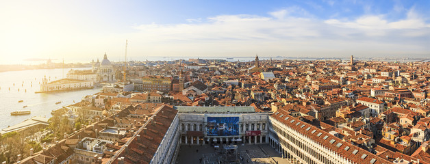 Picturesque panoramic aerial view of Venice, Italy