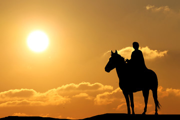 silhouette of a man on horseback in the beautiful sunset