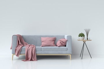 living room with velvet sofa on empty white wall background. 3D rendering