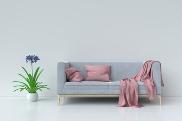 living room with velvet sofa and pink pillow on empty white wall background. 3D rendering