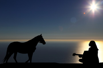 silhouette of a horse walks by the sea and a girl playing a guitar on a background of a beautiful sunset