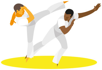 Two fighter Brazilian national martial arts capoeira show method