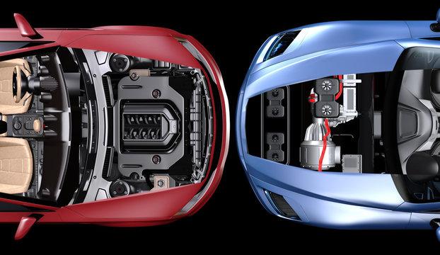 Kontrastprogramm, Elektroantrieb gegen Benzinmotor.