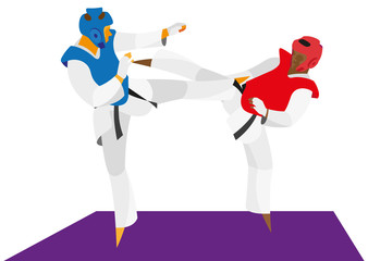 Taekwondo fighters attack each other kicks