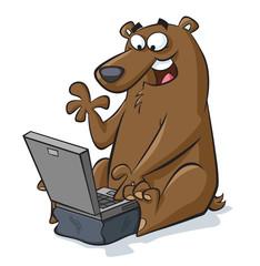 Bear Using Laptop