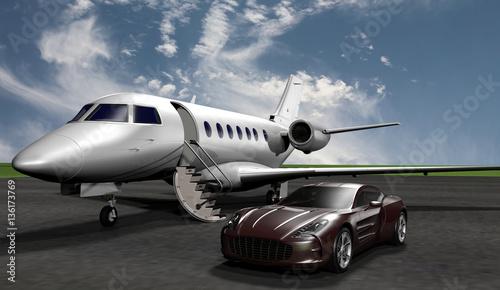 privatjet mit sportwagen auf dem vorfeld eines flughafens stockfotos und lizenzfreie bilder. Black Bedroom Furniture Sets. Home Design Ideas