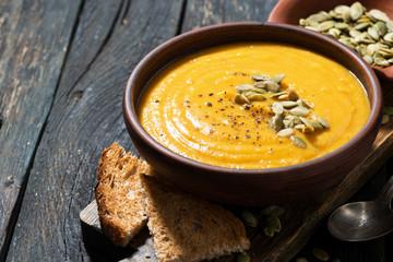 Delicious pumpkin soup, closeup