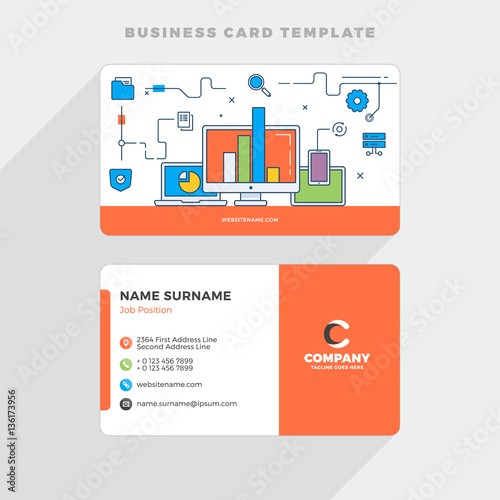 Creative Business Card Template With Flat Line Illustration - Networking business card templates