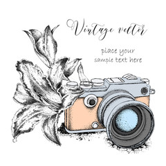 Hand drawn vintage camera with lily. Vector illustration