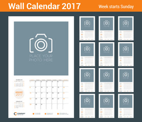 Wall calendar planner template for 2017 Year. Vector stationery design template. Week starts on Sunday
