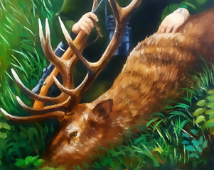 oil painting of deer with antlers and hunter in the background. graphic version.