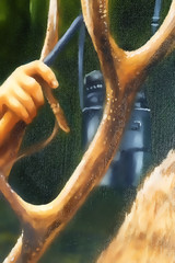 oil painting of deer antlers and hunter with gun in the background. graphic version.
