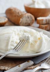 Italian cheese burrata and bread