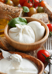 Italian cheese burrata, tomatoes, basil and bread