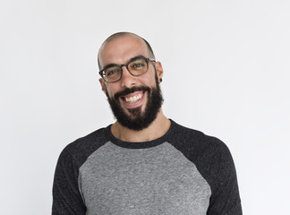 Adult guy wearing glasses studio portrait