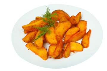 delicious fried potatoes on plate on white background