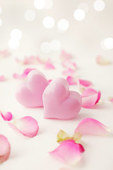 pink hearts and rose flowers petals. Valentine's Day