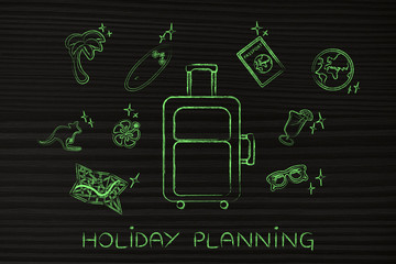 holiday planning, luggage & travel icons