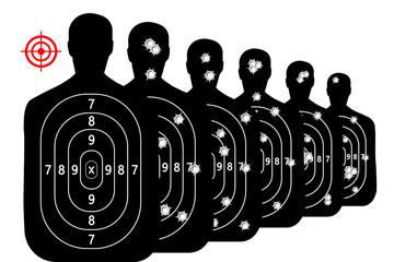 set shot target shooting range background vector bullet holes