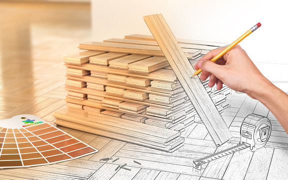 Design concept. Stack of parquet on a floor. Human hand drawing