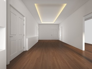 3D Rendering White Empty room with wood floor, illustration