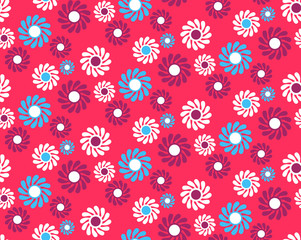 Bright Fun Abstract Seamless Pattern with Flowers Isolated on Vi
