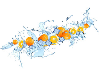 Splash with orange isolated on white background. Abstract water with fresh fruits.