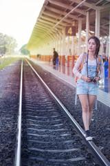 girl on a railway station
