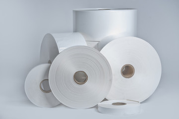 Rolls of wrapping plastic stretch film on white background