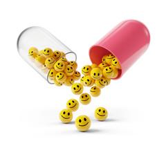 Happy Smiley Emoticon in Kapsel: Lachen ist die beste Medizin.