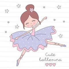 little ballerina girl vector illustration