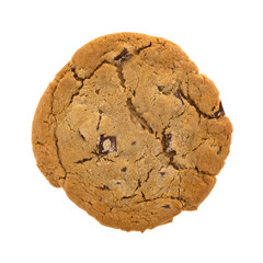 Double chocolate chip cookie isolated on a white background.