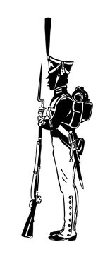 Silhouette of a Russian guard with a gun. In 1812.