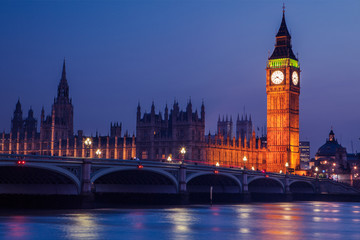 Garden Poster London Big Ben in Westminster on River Thames, London at night