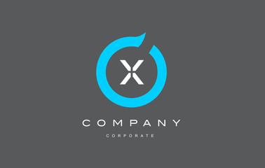 X letter alphabet blue circle logo vector design