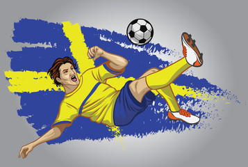 Poster Superheroes sweden soccer player with flag as a background