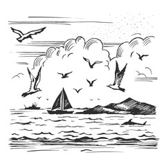 sketch seascape with yachts and seagulls